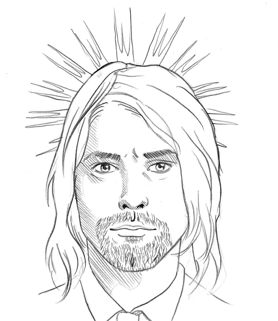 This is a photo of Revered Drawing Of Kurt Cobain