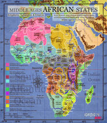ANCIENT AFRICAN STATES MAP- Medieval/Discovery Age