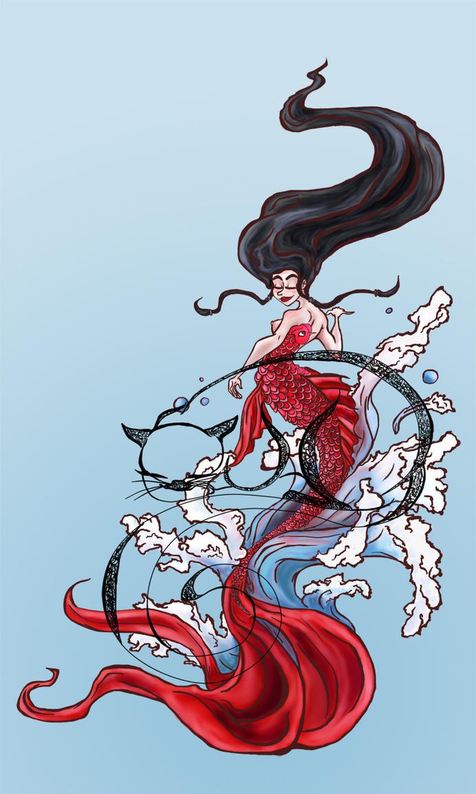 Koi mermaid print sale by kitty olenic on deviantart for Koi prints for sale