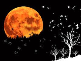 Halloween Moon and Woods by Nikarorku