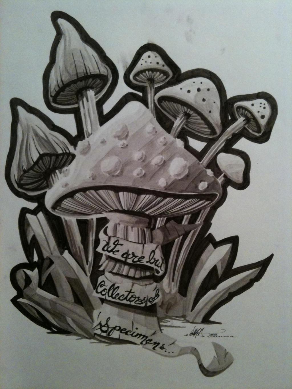 mushroom marker tattoo design by mcguiverstein1111 on deviantart. Black Bedroom Furniture Sets. Home Design Ideas
