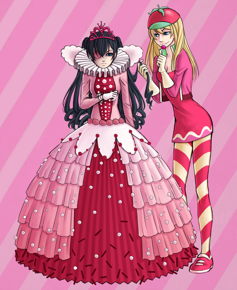 DeviantArt  More Like Vanellope and Taffyta by strawberryneko33Vanellope Von Schweetz And Taffyta Kiss
