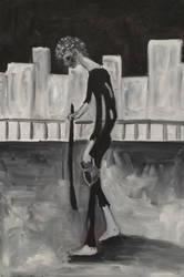 Walking ,50 x 30cm, oil on canvas by Jacklicheukman