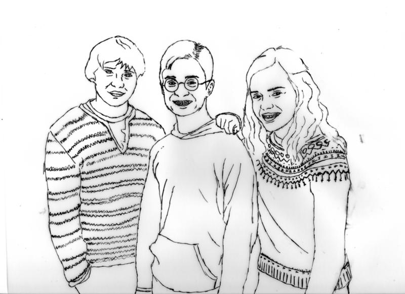 Line Drawing Harry Potter : Harry potter trio line drawing by lorni on deviantart