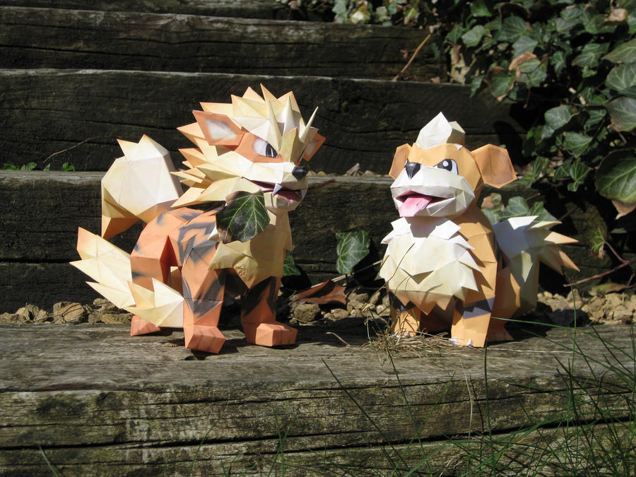 Arcanine and Growlithe paper by the-Adventurer-0815