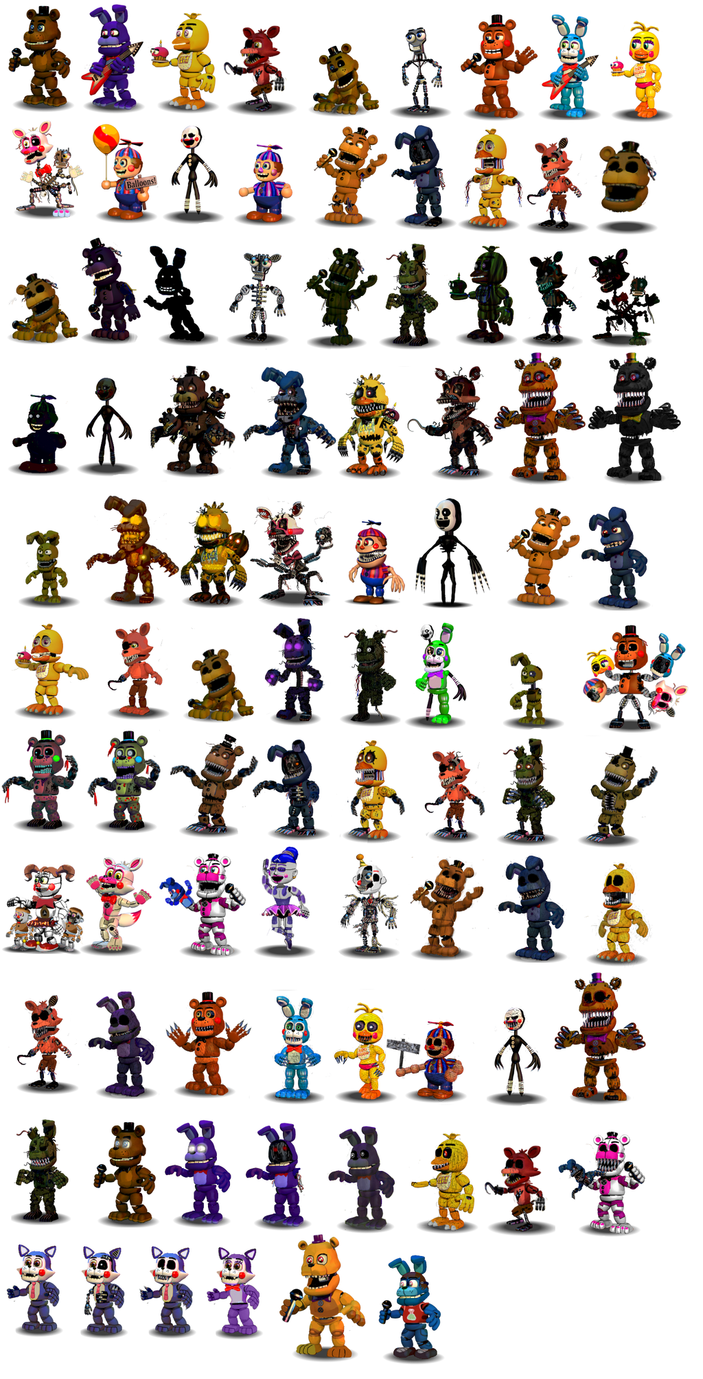 Fnaf (Canon and Fan-made) Characters Canon V1(Old) by