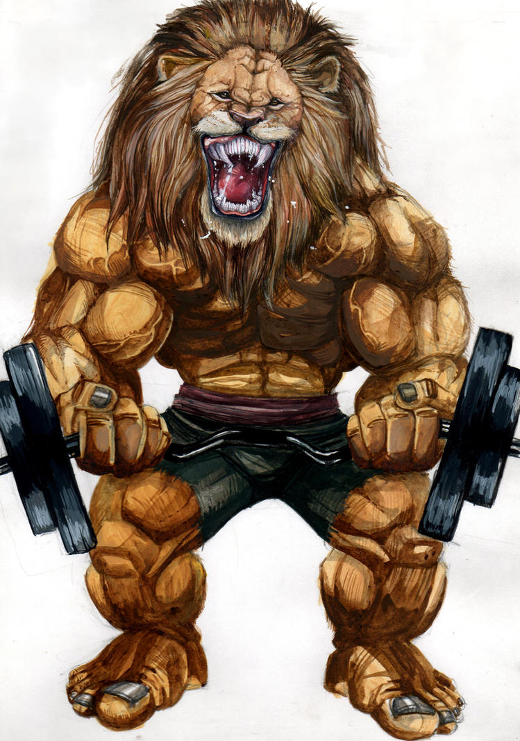 lion bodybuilder by freefallofafeather on DeviantArt