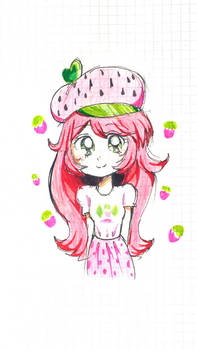 Strawberry Shortcake in 90s anime style