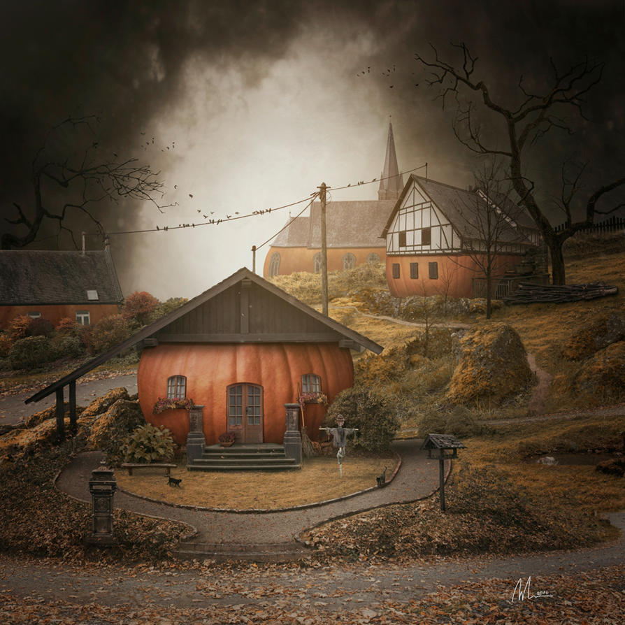 Pumpkin Village by Megan-Arts