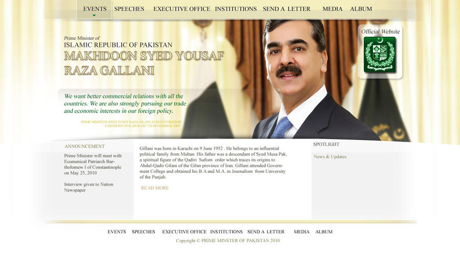 Prime Minister Website by irfanrahmed