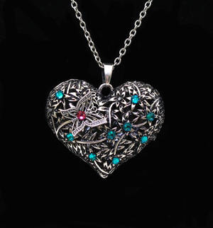 Silver Butterfly Crystal Heart Necklace