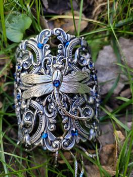 Victorian Silver Dragonfly Cuff Bracelet