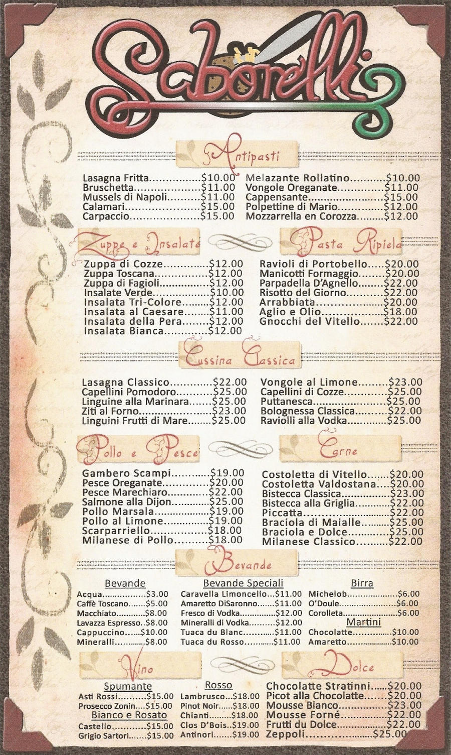 menu templates design