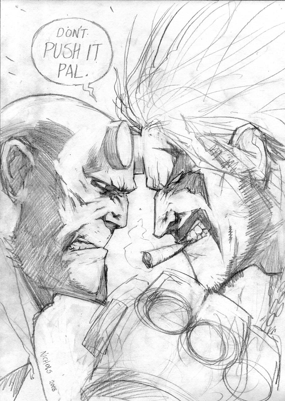 Hellboy vs Lobo WIP by FlowComa
