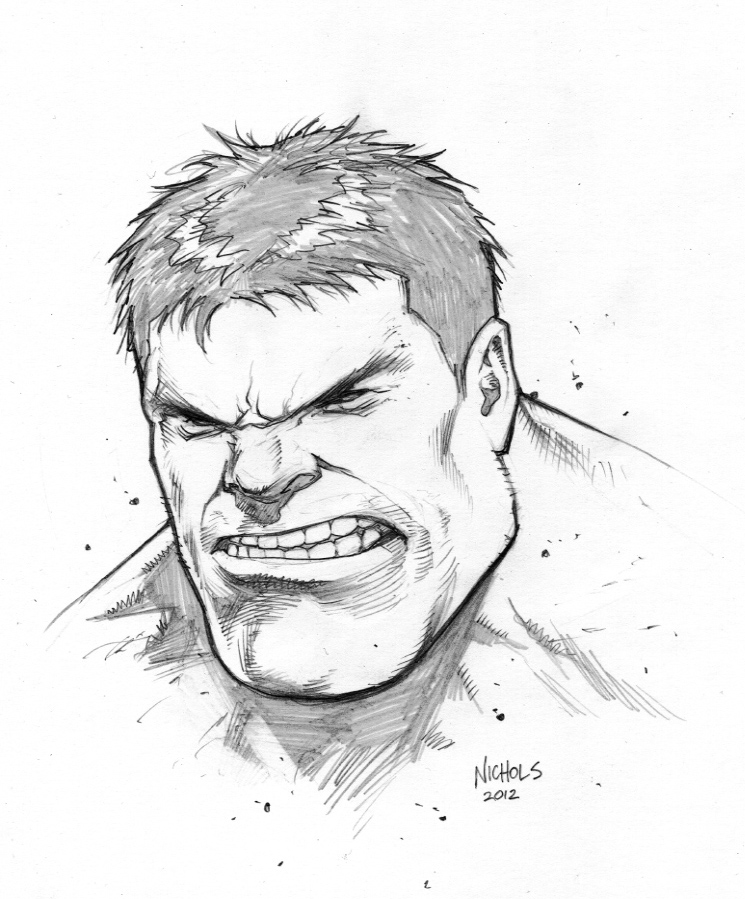 Hulk Face Line Drawing : Hulk head sketch commission by flowcoma on deviantart