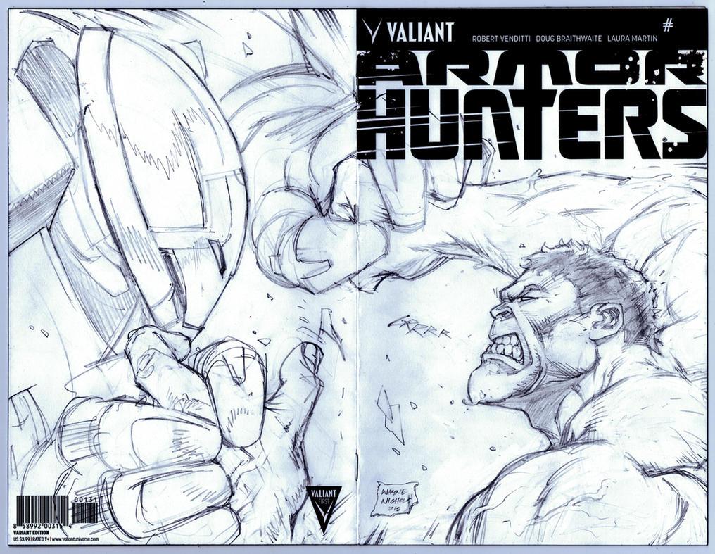 Hulk VS HulkBuster sketchcover Pencils by FlowComa