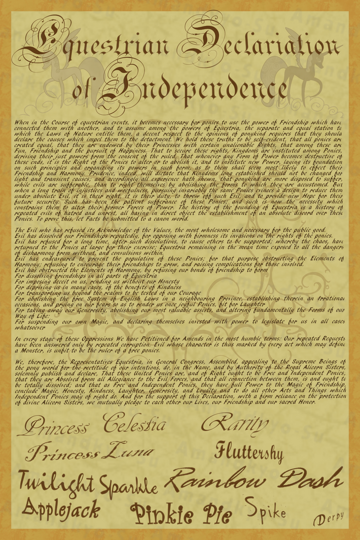 MLP Declaration of Independence by Amandkyo-Su on DeviantArt