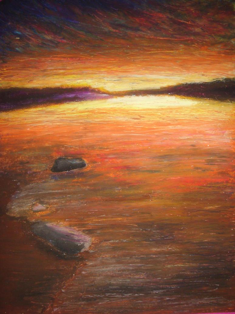 Line Drawing Sunrise : Sunrise oil pastel by mightybea on deviantart