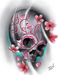 cherry blossoms and skull