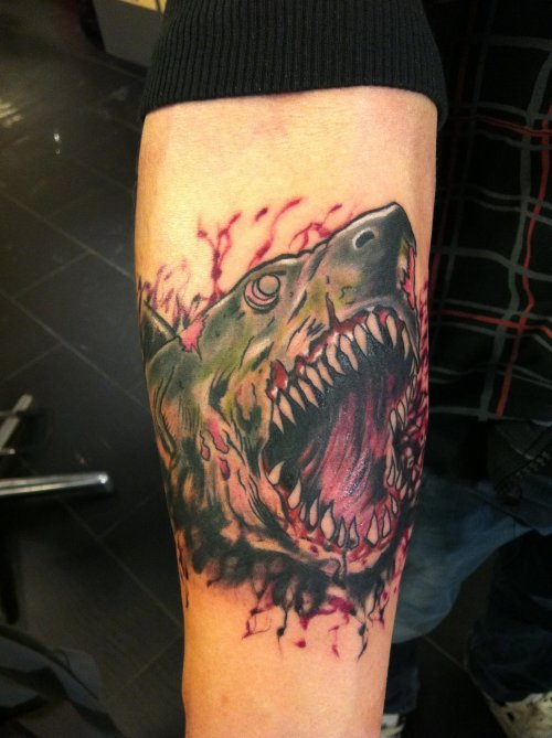 zombie shark by jrunin on DeviantArt Zombie Shark Tattoo