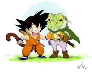 Goku and Frog- DragonBall X Chrono Trigger by NotsoSavageMic
