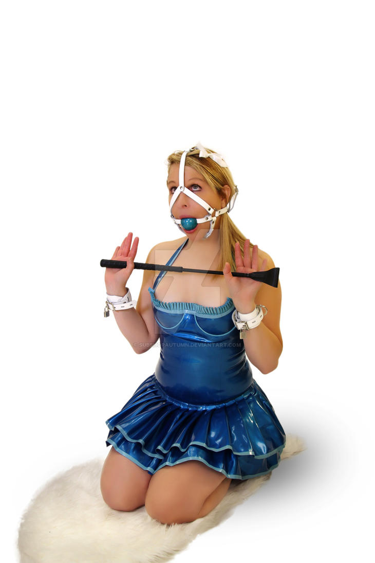 Whip this slave in white leather ball gag trainer  by subshopautumn