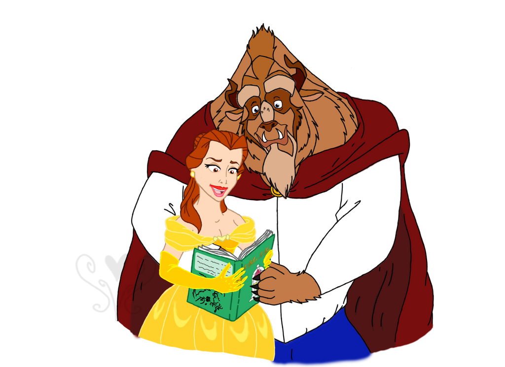Belle and Prince Adam Reading Together