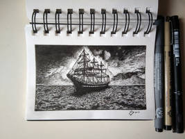 Inktober 2017 - Day 25 - Ship by StephanoAnt