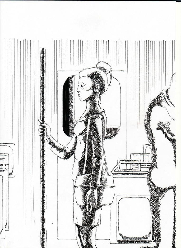 In the subway by GabyThePlatypus