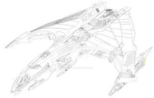 Romulan Kite Class Goshawk WIP lining complete