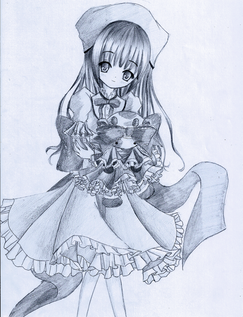 Girl holding a doll by Kudo008