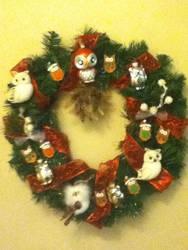 Owl Christmas Wreath by LadyMidnight81