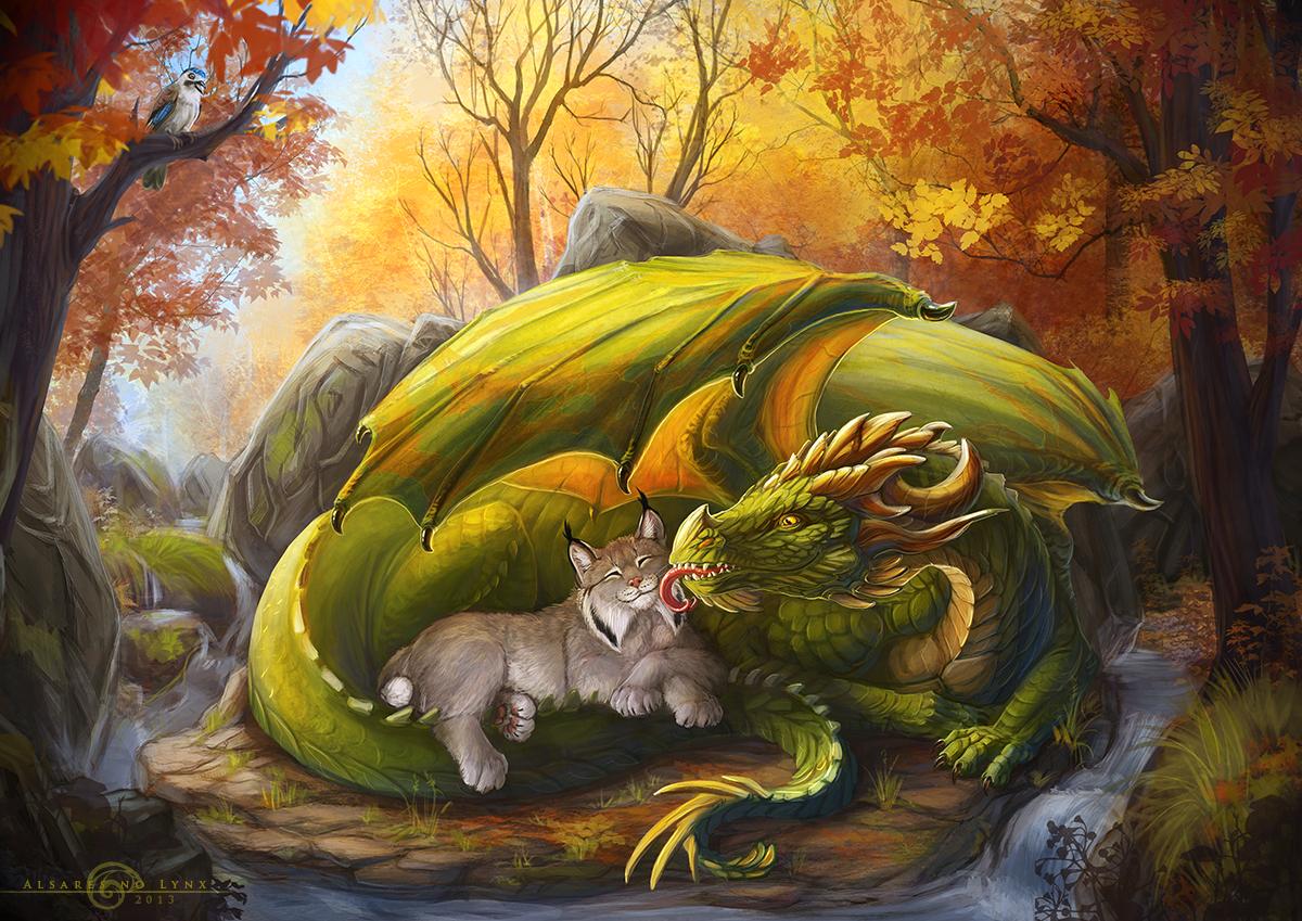 dragon and lynx by alsareslynx on deviantart