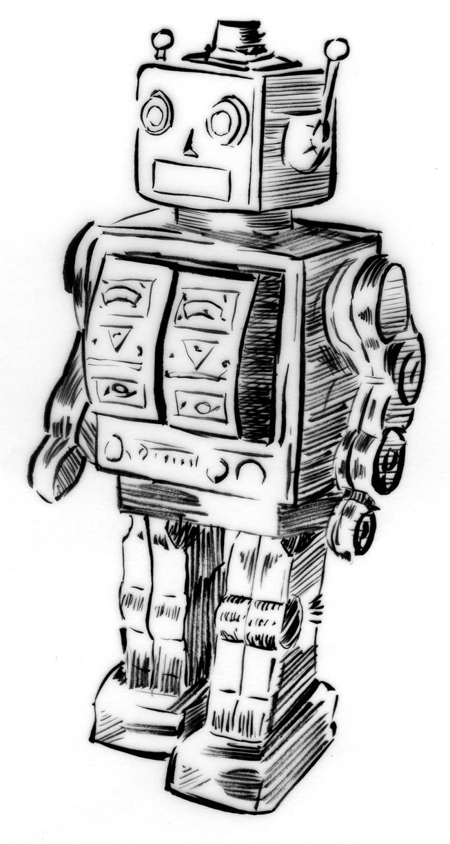 Line Art Robot : Illustration line triptych tin robot toy by