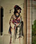 pen and color pencil: Kimono
