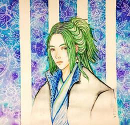 Watercolor: random guy w/ green hair
