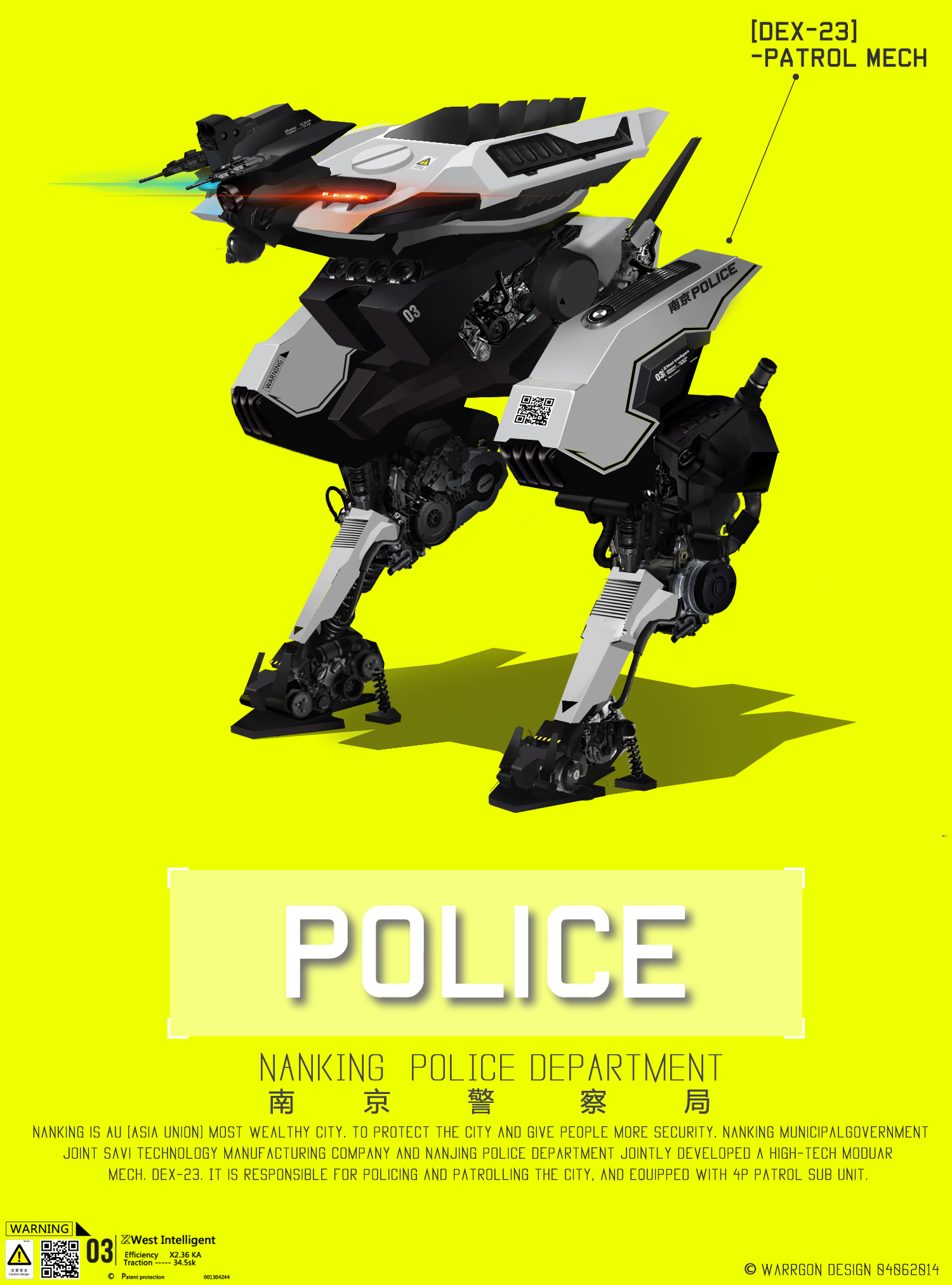 Dex-23 Police Mech 04062014 02 by WarrGon