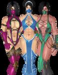 Kitana, Mileena and Jade