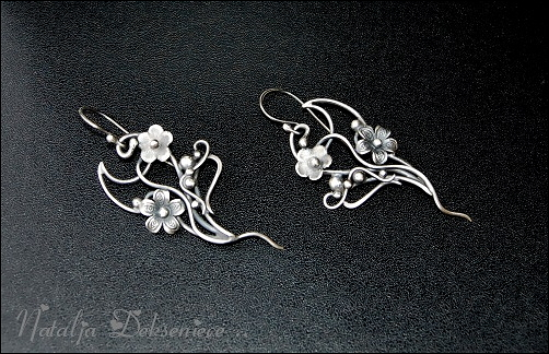 Silver earrings, handmade, wire jewelry by Atalia65