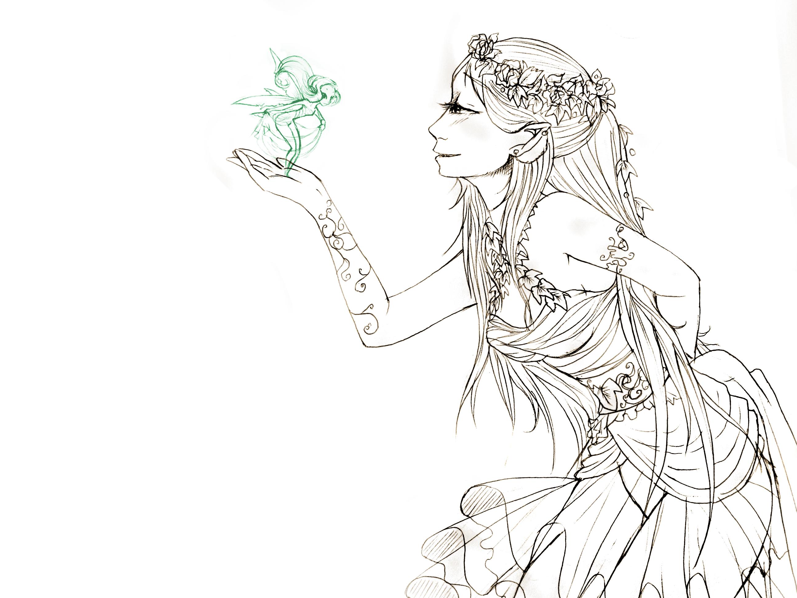 Line Art Queen : Fairy queen line art by princessmoony on deviantart