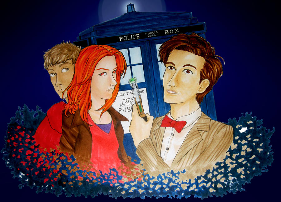 11th doctor and the ponds by KazukiDeng