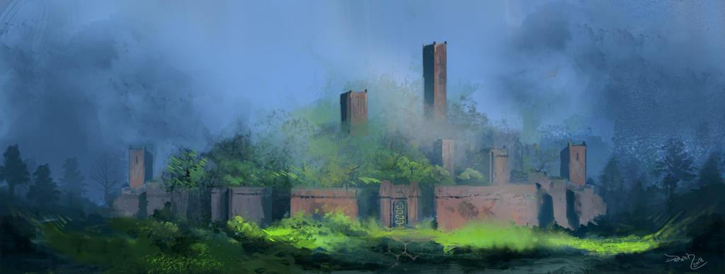 Daily sketch #172 castle by arashsketchy