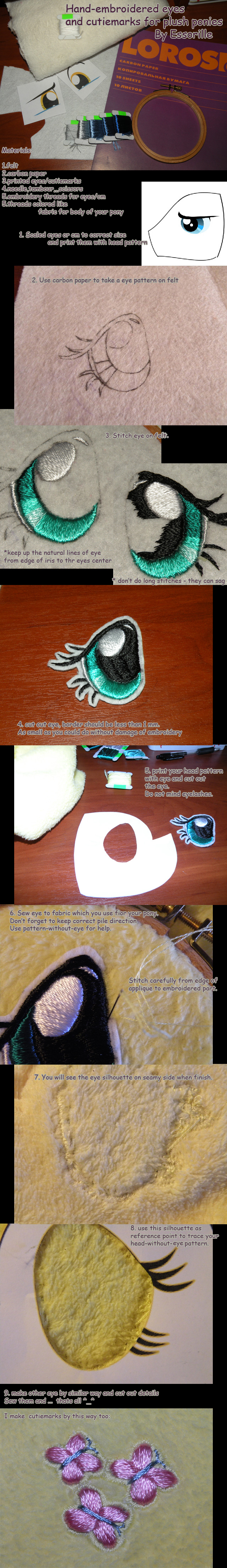 hand-embroidered plush eyes tutorial by Essorille