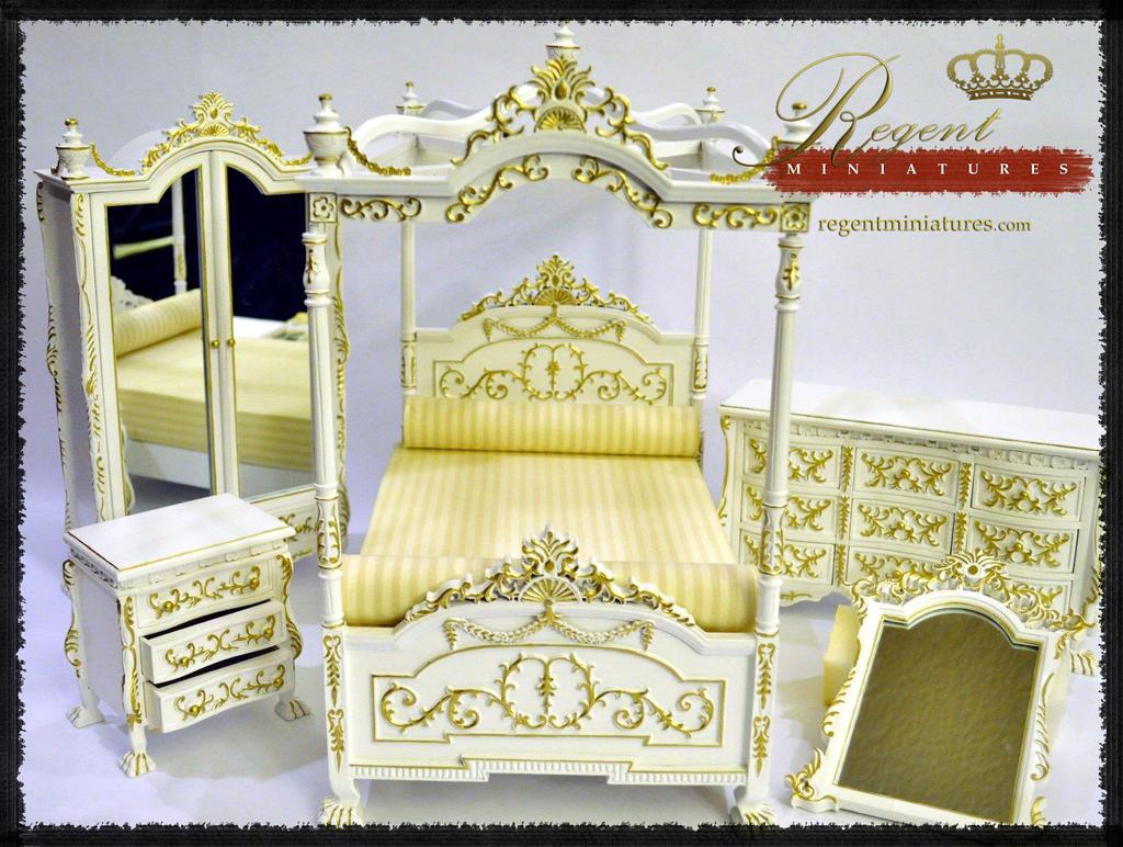 regent miniatures canopy bedroom set white satin by regentminiatures