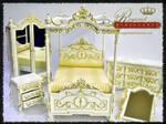 Regent Miniatures Canopy Bedroom Set White Satin