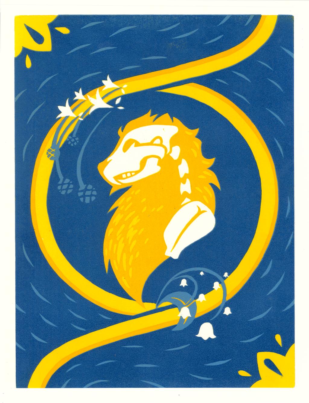 King of the Beasts - Linocut by NitrusOxide