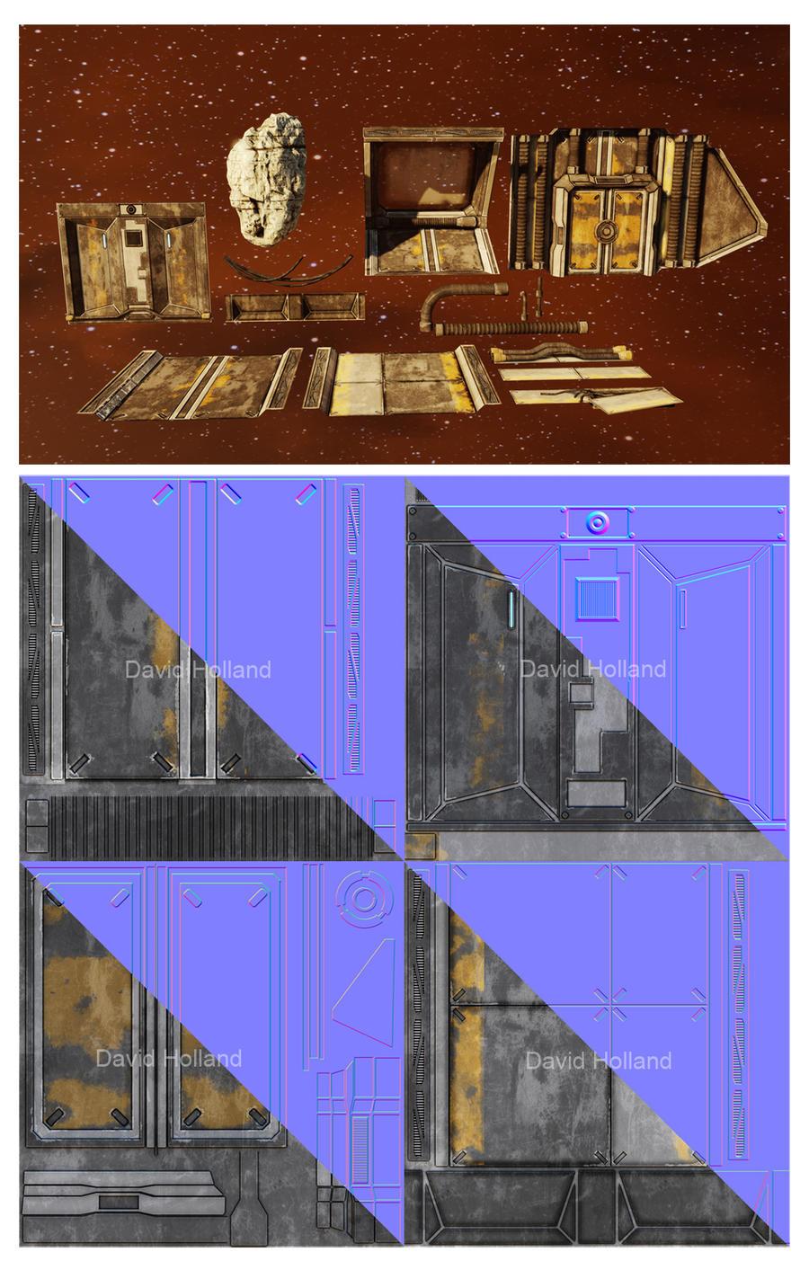 Generic Sci-Fi Hallway Assets by David-Holland