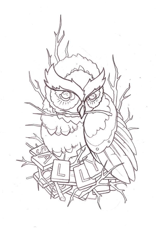 Owl Line Drawing Tattoo : Tattoo design owl by reklawpeels on deviantart