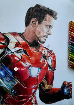 Iron Man drawing with Colored pencils