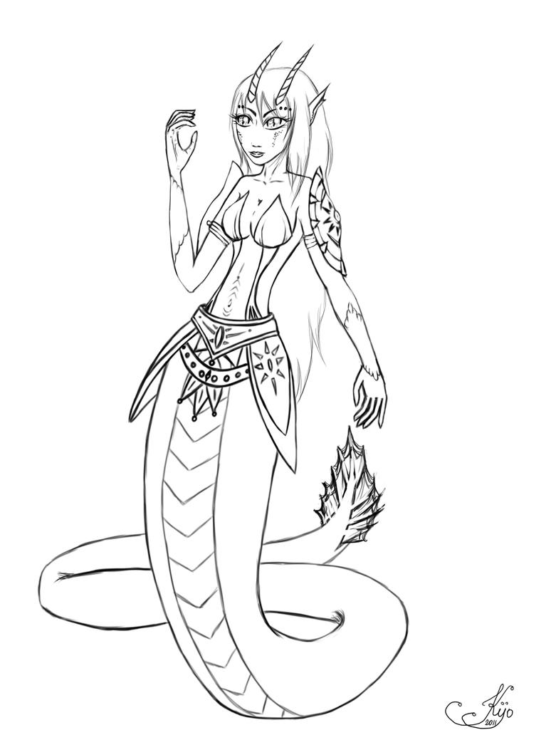 Line Drawing Snake : Lineart dragon snake by kijofaia on deviantart